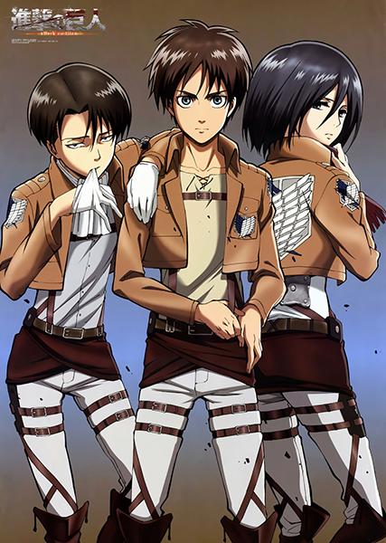 Shingeki-no-Kyojin-Rivaille-Eren-Mikasa